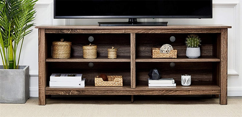 """58/"""" Mahogany Brown Rockpoint Plymouth Wood TV Stand Storage Console"""